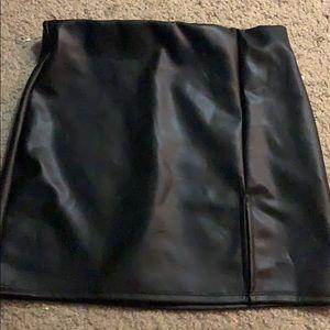 Black metallic faux leather like feel skirt